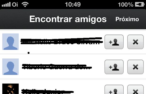 """Tela """"Encontrar amigos"""" no app Google+ (Foto: Reprodução/Edivaldo Brito)"""