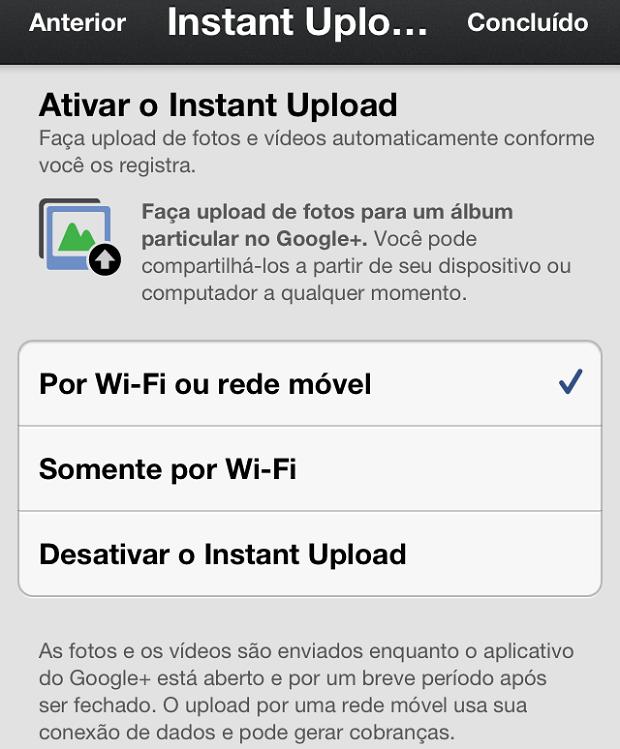 """Configurando o """"Instant Uploas"""" no app Google+ (Foto: Reprodução/Edivaldo Brito)"""