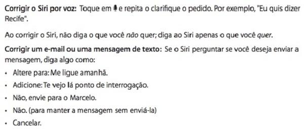 Instruções do manual provam que Siri deve vir em português para o Brasil (Foto: Reprodução) (Foto: Instruções do manual provam que Siri deve vir em português para o Brasil (Foto: Reprodução))