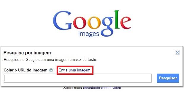 """Para fazer buscas com uma imagem própria selecione a opção """"Envie uma imagem"""" (Foto: Reprodução/Júlio Monteiro)"""