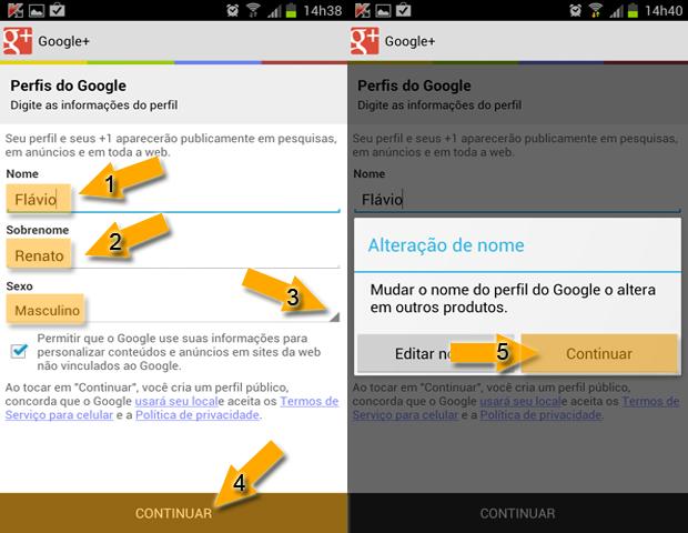 Preenchendo dados para cadastro do Google+ no Android (Foto: reprodução / Flávio Renato)