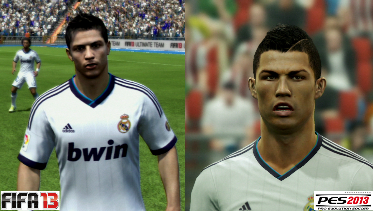 Cristiano Ronaldo em FIFA 13 e PES 2013 (Foto: Reprodução / PlayStation Magazine)