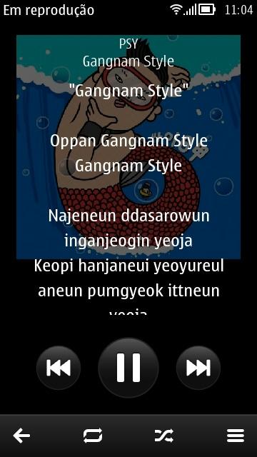 O Music Player do Symbian possui suporte a letras (Foto: TechTudo/Elson de Souza)