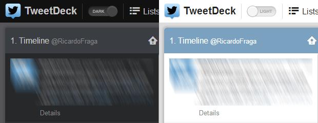 """TweetDeck adiciona opção para os usuários alterarem o tema do aplicativo entre """"Dark"""" e """"Light"""" (Foto: Reprodução/Ricardo Fraga)"""