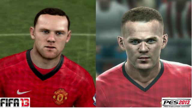 Wayne Rooney em FIFA 13 e PES 2013 (Foto: Reprodução / PlayStation Magazine)