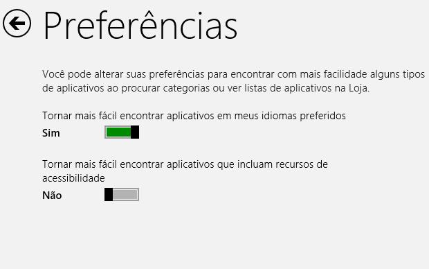 Opções da Windows Store (Foto: Reprodução/Helito Bijora)