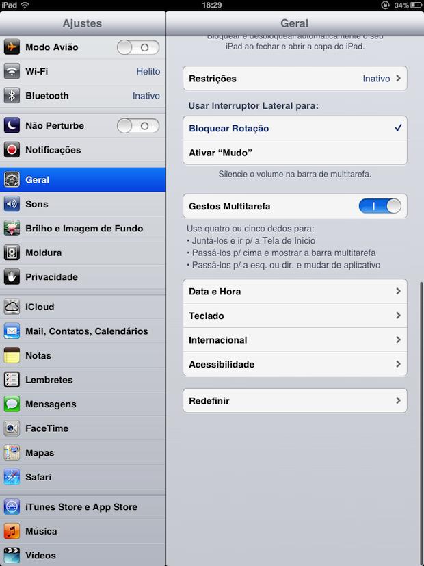 Configurações do iOS 6 (Foto: Reprodução/Helito Bijora)