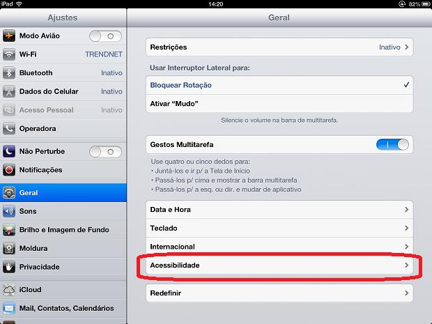 Acessando as opções de acessibilidade do iPad (Foto: Reprodução/Edivaldo Brito)