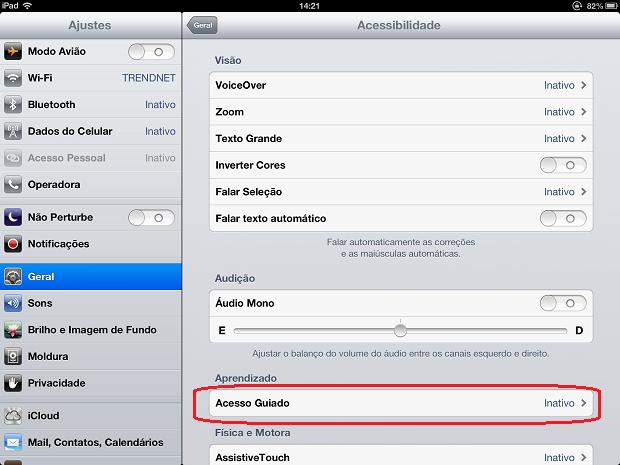 """Acessando a opção """"Acesso guiado"""" no iPad (Foto: Reprodução/Edivaldo Brito)"""