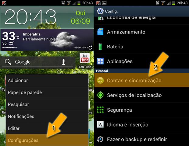 Menu Android (Foto: reprodução / Flávio Renato)