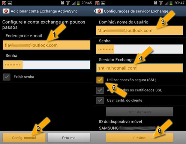Adicionando conta Exchange ActiveSync (Foto: reprodução / Flávio Renato)