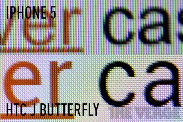 Comparativo entre as telas do HTC J e do iPhone 5 (Foto: Reprodução)