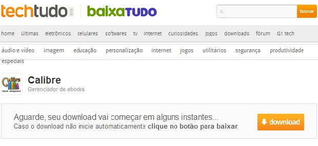 Faça o download do Calibre no Techtudo Downloads (Foto: ReproduçãoJúlio Monteiro)