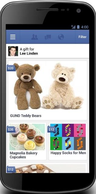 Facebook Gifts no celular (Foto: Reprodução)