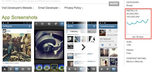 Instagram para Android é um sucesso no Google Play (Foto: Reprodução)