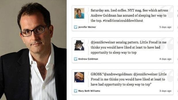 Andrew Goldman, do New York Times,  foi suspenso depois de xingar, pelo Twitter, amiga de trabalho (Foto: Reprodução)