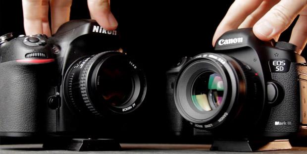 Nikon D800 e a Canon 5DIII lado a lado (Foto: Dave Dugdale)