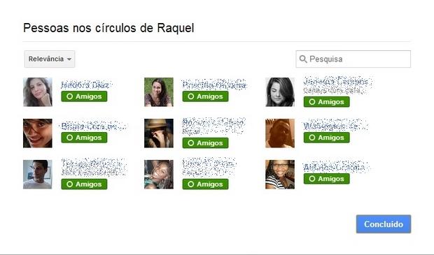 Lista de amigos sem organização por círculos (Foto: Reprodução/Raquel Freire)