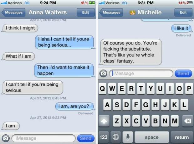 Mensagens supostamente trocadas entre Foster e sua professora (Foto: Reprodução)
