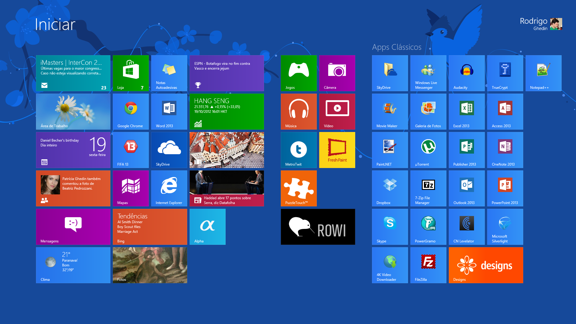 Tela Inicial do Windows 8 (Foto: Reprodução)