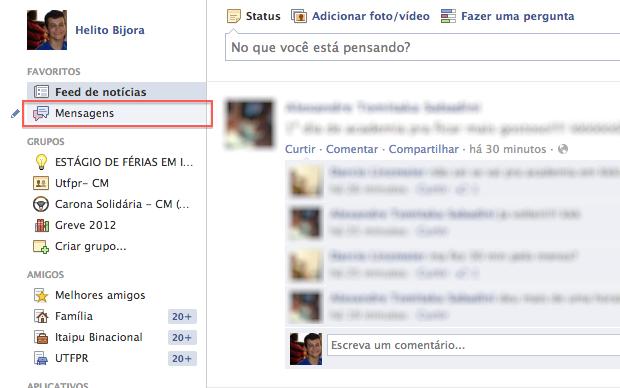 Acessando as mensagens trocadas com seus amigos no Facebook (Foto: Reprodução/Helito Bijora)