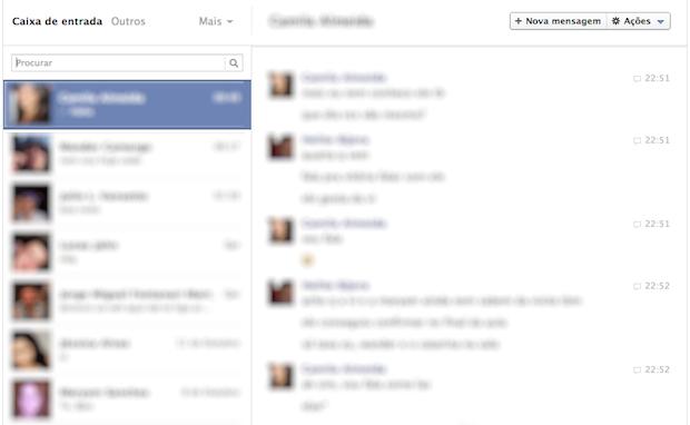 Página de mensagens (Foto: Reprodução/Helito Bijora)