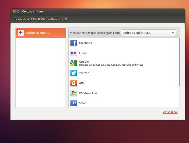 Suas contas on-line agora pode ser configuradas diretamente no sistema (Foto: Reprodução/Edivaldo Brito)