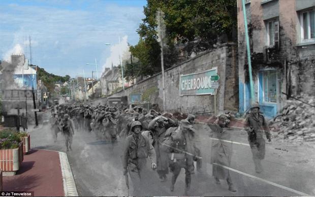 Prisioneiros alemães marcham no atual cenário francês (Foto: Jo Teeuwisse)