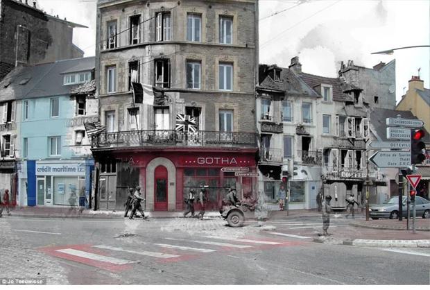 Soldados aliados passando em frente a lojas atuais (Foto: Jo Teeuwisse)