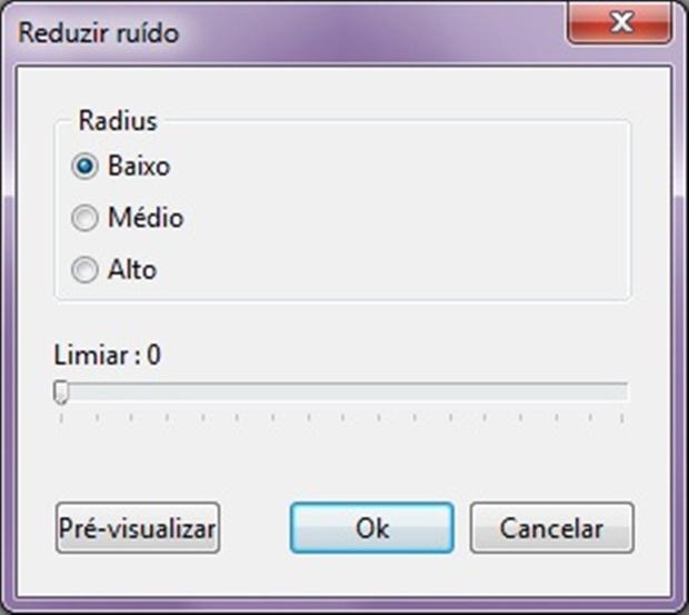 """Em reduzir ruído, escolha """"Radius"""" médio (Foto: Reprodução/Raquel Freire)"""