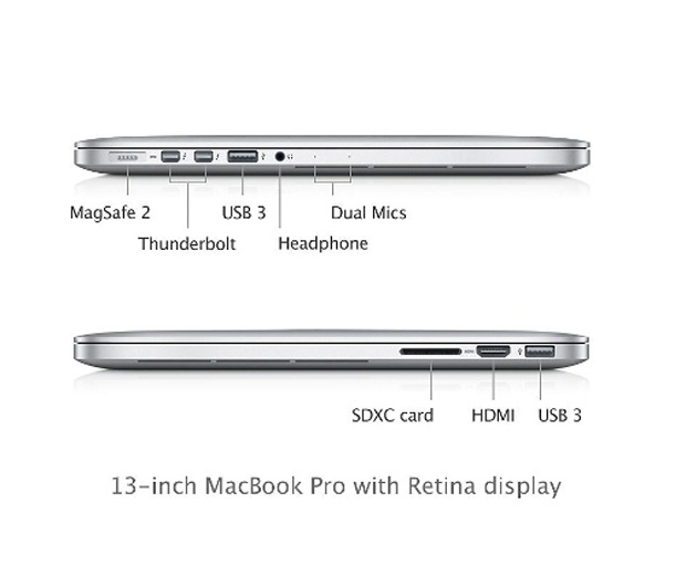 Entradas do MacBook Pro Retina 13 polegadas (Foto: Reprodução)