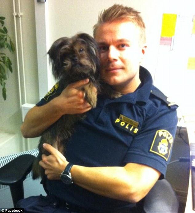 Foto de Henrik com o cachorrinho perdido atraiu o público feminino (Foto: Reprodução)