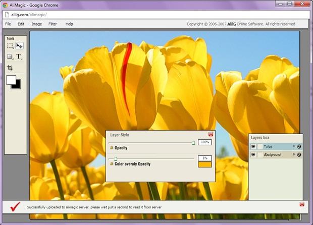 AliMagic Online Photo Editor tem design limpo (Foto: Reprodução/Raquel Freire)