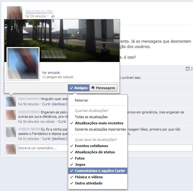 Opções de configurações de privacidade na página pessoal do Facebook (Foto: Reprodução)