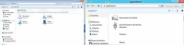 Windows explorer nos dois sistemas: Diferença na pasta Applications 9Foto: reprodução/Edivaldo Brito)