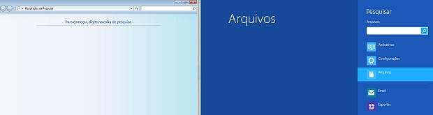 A tela de pesquisa está bem diferente no Windows 8 (Foto: Reprodução/Edivaldo Brito)