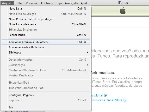 Iniciando a inclusão de um arquivo PDF no iTunes (Foto: Reprodução/Edivaldo Brito)
