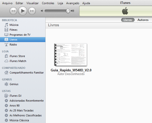 """Visualizando o arquivo PDF dentro da pasta """"Livros"""" no iTunes (Foto: Reprodução/Edivaldo Brito)"""