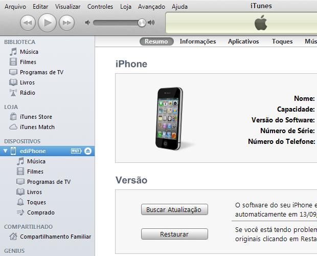 Clicando no iPhone dentro do iTunes (Foto: Reprodução/Edivaldo Brito)