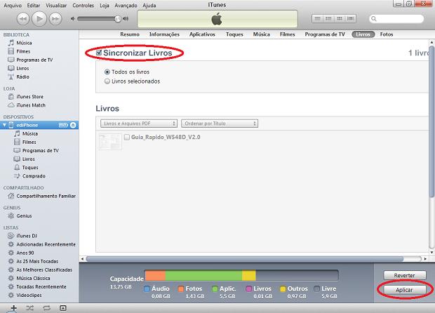 Sincronizando os livros no iTunes para levar o PDF para o iPhone (Foto: Reprodução/Edivaldo Brito)