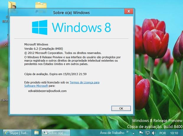 Aplicativo winver mostra validade da Release Preview do Windows 8 (Foto: Reprodução/Edivaldo Brito)