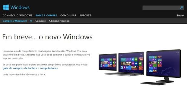 Site de venda da Microsoft fora do ar (Foto: Reprodução)