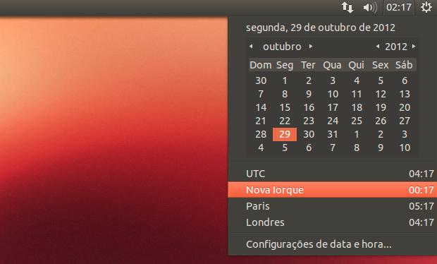 Applet de tempo do Ubuntu (Foto: Reprodução/Helito Bijora)