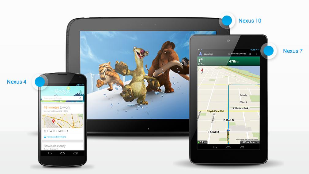 Nova família Nexus: smartphone de 4 polegadas, tablet de 7 e 10, e Android 4.2 em todos (Foto: Divulgação)