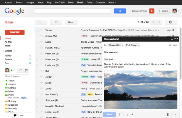 Nova aparência da tela de edição de mensagens do Gmail (Foto: Divulgação/Google)