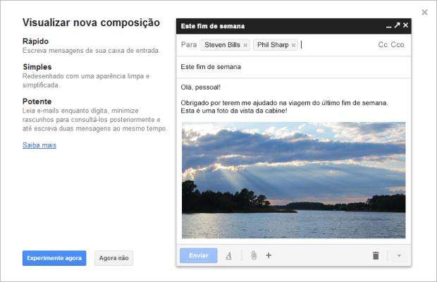 Tela de apresentação da nova interface de edição de mensagens do Gmail (Foto: Reprodução/Ricardo Fraga)