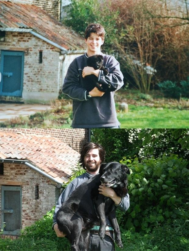 Bem mais velho, o cão ainda pensa que é um filhote no colo de seu dono (Foto: Reprodução)