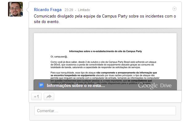 Postagem aparecerá automaticamente no Stream do usuário (Foto: Reprodução/Ricardo Fraga)