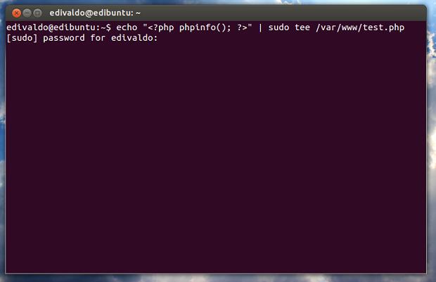 Criando uma página PHP para ver como ficou a instalação (Foto: Reprodução/Edivaldo Brito)