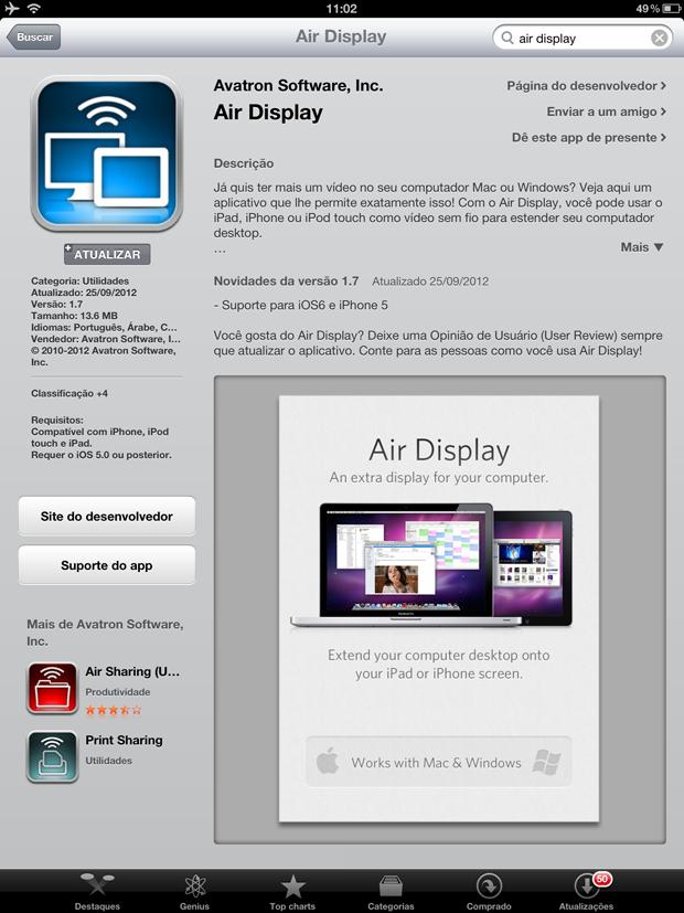 Download do Air Display na AppStore do seu iOS (Foto: Reprodução/Hugo Carvalho)